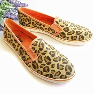 Sperry Leopard Slip On Shoes Loafers Sneakers Flat